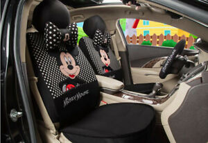 1 Sets Universal Car Seat Covers New Cute Mickey Mouse Four Seasons Black Dot
