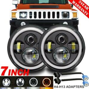 2x 7 Inch Led Headlight Drl Angel Eye Dot Lamp For Land rover Am general Hummer