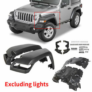 For 2018 20 Jeep Wrangler Jl Rubicon Smooth 4pcs Fender Front High Top Flares