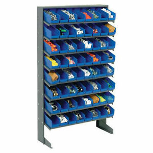 Floor Rack 8 Shelves W 64 4 w Blue Bins 33x12x61