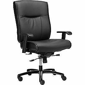 Big Tall Leather Chair With Adjustable T arms Leather Upholstery Black
