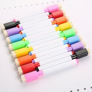 8 Colors Set Magnetic White Board Marker Pens With Eraser Pri Dry Low Erase K6b2