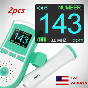 Lcd Pocket Fetal Doppler Prenatal Heart Baby Heart Monitor 3mhz Probe Accurate