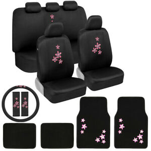 Pink Floral Flower Design Seat Cover Floor Mats Set For Car Truck Van Suv