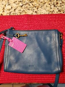 Fossil blue leather crossbody $29.99
