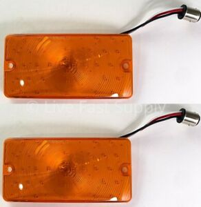 Pair Front Led Amber Parking Turn Signal Lights For 1969 77 Ford Bronco