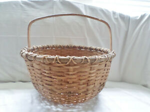 Antique Primitive Large Split Oak Gathering Basket 14 Tall 16 Wide