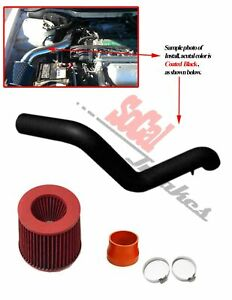 Black Coated Red Air Intake Kit Filter Set For 1997 2001 Honda Prelude 2 2 L4