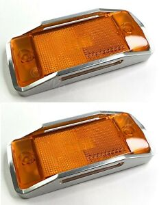 Pair Front Amber Led Side Markers W Aluminum Raised Bezels 1970 77 Ford Bronco