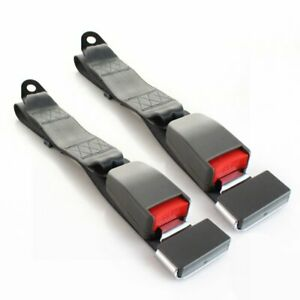 Pair 2 Point Fixed Safety Belt Lap Strap Seatbelt Buckle Clip Grey Universal
