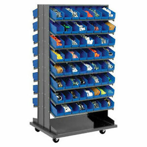 Double sided Mobile Rack 16 Shelvs With 128 4 w Blue Bins