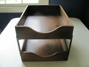 Vintage Wood Double Tray Desk Paper Tray file Nice Corner Joints