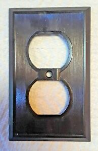 Vintage Mid Century Brown Bakelite Single Gang Wall Outlet Plate Wall Plug Cover
