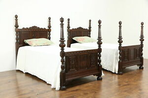 Pair Of English Tudor Design Antique Carved Oak Twin Or Single Beds 33977