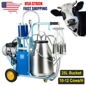 Portable Electric Milking Machine Milker Goat Cows 25l Bucket Stainless Steel