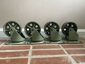 Rare Green Vintage Industrial Metal Cast Iron Noelting Caster Wheels 6 5
