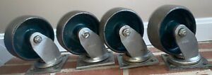 Green Vintage Industrial Metal Cast Iron Colson Caster Wheels 6 5