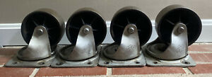 4 Vintage Industrial Metal Cast Iron Bassick 561 Caster Wheels 6 5 Usa