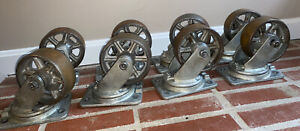 8 Vintage Industrial Metal Cast Iron Albion Caster Wheels 6 5 Michigan Usa