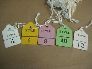 Clothing Size Hang Tags With Strings Vintage 1970 s Sizes 4 12 Box Lot Of Tags