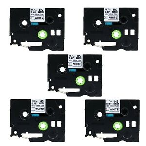 5pk Heat Shrink Label Cartridge Hse231 Black On White For Brother P touch 1 2
