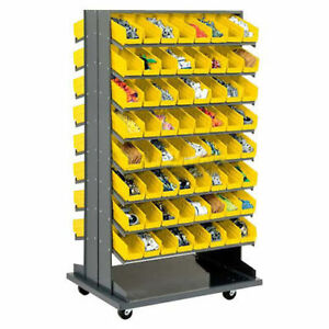 Double sided Mobile Rack 16 Shelvs With 128 4 w Yellow Bins