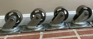 5 Vintage Industrial Metal Cast Iron Albion Caster Wheels 5 Michigan Usa
