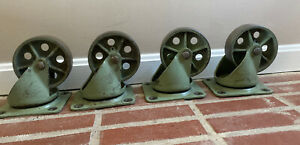 8 Rare Green Vintage Industrial Metal Cast Iron Noelting Caster Wheels 6 5