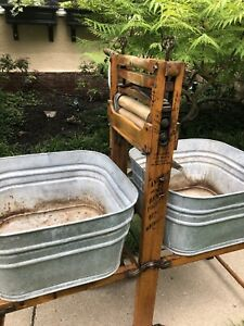 Primitive Early 1900s Anchor Double Wash Tub Wood Clothes Wringer Bench Stand