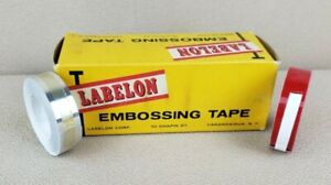 Vtg 2 Colors Rolls Labelon Embossing Labeling Tape 1 2 w X12 Red Alum Usa