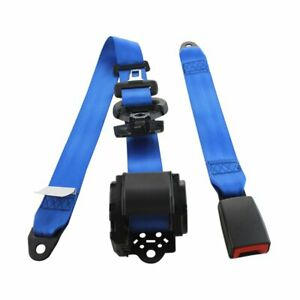 1pc 3 Point Harness Blue Safety Adjustable Seatbelt Lap Strap Car Auto Universal