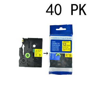 40pk Tz631 Tze631 Black On Yellow Label Tape For Brother P touch Pt d450 1 2