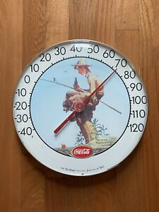 Vintage coca cola thermometer Norman Rockwell Tru Temp Jumbo Dial By Tca