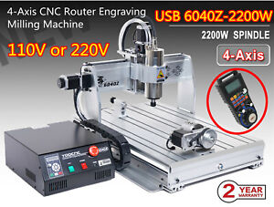 4 Axis 2200w 6040 Usb Cnc Router Woodworking Mill Engraving Carving Machine mpg