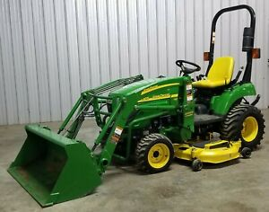24 Hp 4x4 Hst John Deere 2305 Loader Tractor 4wd Belly Mower Ie 1023e 2305 232