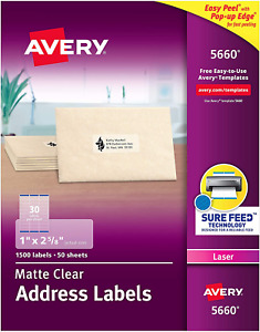 Avery 5660 Matte Clear Address Labels For Laser Printers 1 X 2 5 8 50 Sheet
