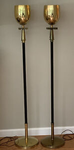 Vintage Pair Tommi Parzinger Torchiere Floor Lamp Greek Key Brass