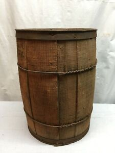 Vtg American Steel And Wire Co Nail Keg Barrel Farm Decor Lg Size 18in Tall