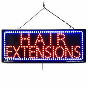 Large Led Window Open Sign hair Extensions 13 x32 Size Extra Bright Can B