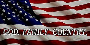 God Family Country On United States Flag Photo License Plate