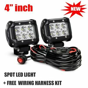 Pair 4 Led Light Bar Work Pod Spot Fog Driving Offroad Suv Utv Truck 4wd Wire