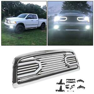 Front Big Horn Chrome Packaged Grille Shell Light For 2009 2012 Dodge Ram 1500