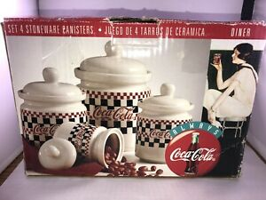 Coca-Cola Cookie Jar Vintage 1996 Gibson Checkered Canaster (set Of 4) *IN BOX*