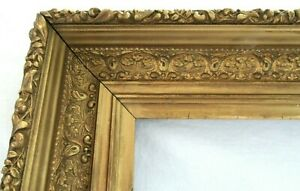 Big Antique Fits 16 7 X 20 6 Gold Picture Frame Ornate Wood Fine Art Country