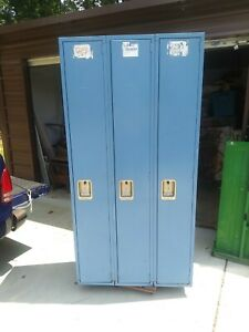 Vintage Lyon 3 Metal Locker Set