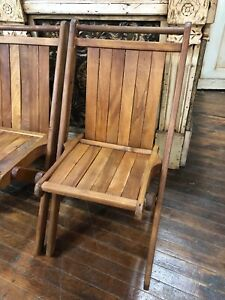 4 Vintage Slatted Wood Folding Chairs Wood Church Chairs Photography Prop