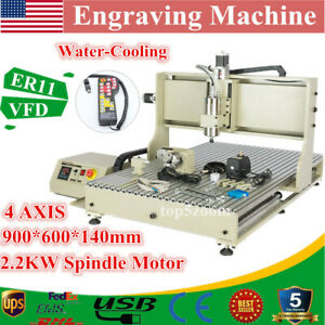 Usb 4 Axis 6090z Cnc Router Engraver Wood Drill milling Machine 2 2kw controller