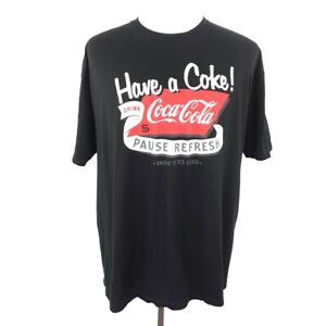 Coca-Cola Graphic T-Shirt Black Red Have A Coke Drink Pause Refresh Tee Mens XXL