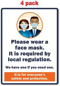 4 Wear Face Mask Sticker Local Regulation Safety Store Business Decal Sign