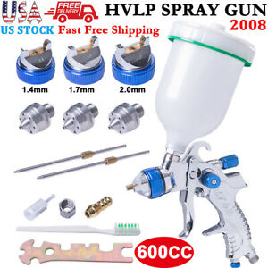 2008hvlp Auto Paint Air Spray Gun Kit Gravity Feed Primer 3 Nozzle 1 4 1 7 2 0mm